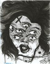 """Damsel, #1"" micron pen on paper (2015)"