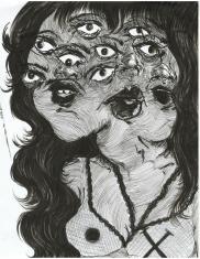 """Damsel, #2"" micron pen on paper (2015)"