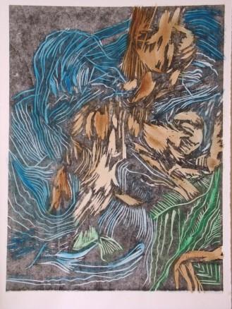 Relief print + acrylic overlay, 2011