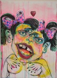 """BABYSHAKES"" (2015) mixed media on canvas (2015) -sold"