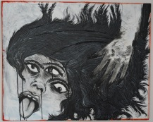 """Tongue Lashing"" (2015) Acrylic, oil on used canvas"