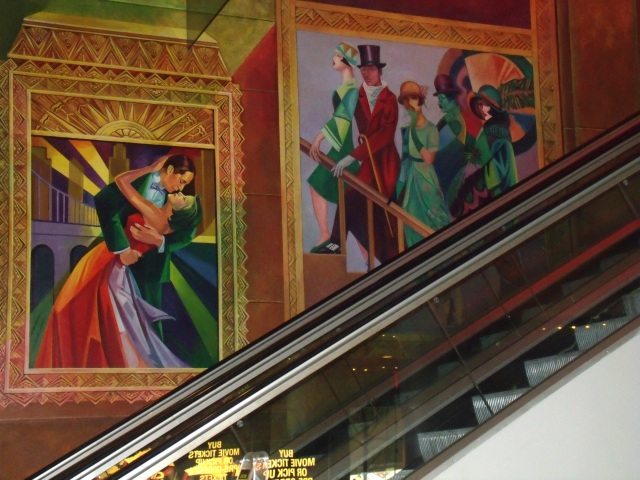 Escalators and murals in movie theaters - only in NY!