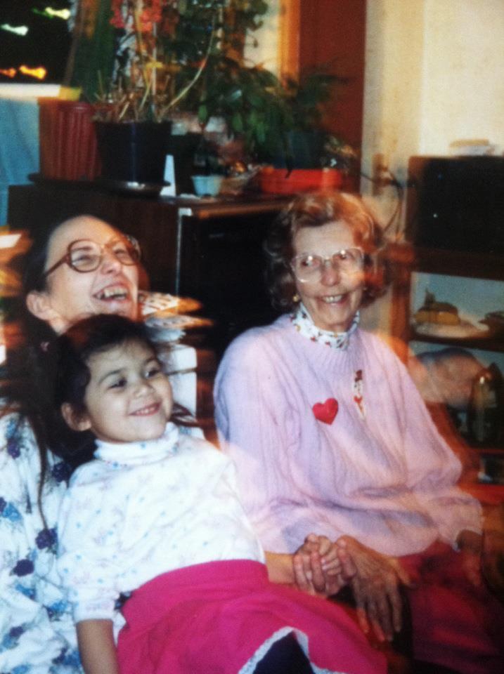 mama, baby sarah, gram laughing