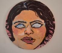 """""""Self-Portrait, (pink)"""" acrylic on wood panel (2019)"""