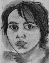 """Self-Portrait (big eyes)"" charcoal on paper (2019)"