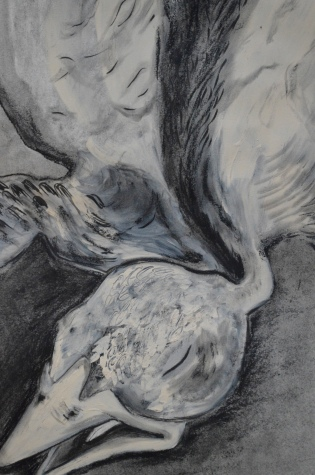 """Baby Bird, Thud"" (detail) charcoal, paint on bristol (2019)"