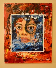 """""""Self Portrait As Water Rising, Fire Burning"""" acrylic on canvas (2019)"""